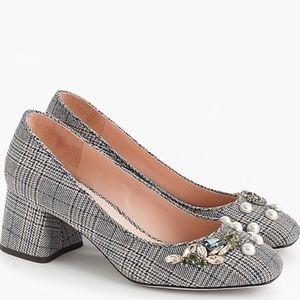 Block-heel pumps in embellished plaid size 8